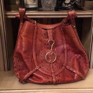 Donna Karan faux croc leather bag.